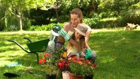 Bambina che fa il giardinaggio con sua madre stock footage