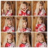 Bambina che fa le espressioni facciali Immagini Stock
