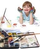 Bambina che gioca con i colori Immagini Stock Libere da Diritti