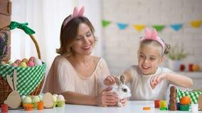 Bambina che gioca con il piccolo coniglio sveglio in mani delle madri, animale domestico, simbolo di Pasqua stock footage