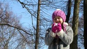 Bambina che gioca le palle di neve stock footage