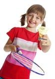 Bambina che gioca volano Fotografie Stock Libere da Diritti