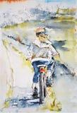 Bambina che guida una bicicletta Fotografie Stock