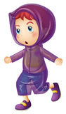 Bambina che porta impermeabile porpora Fotografie Stock