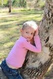Bambina che si siede in un albero di gomma Fotografia Stock