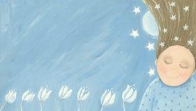 Bambina che sogna nel giardino royalty illustrazione gratis