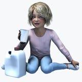 Bambina che tiene tazza e contatiner 5 Fotografie Stock Libere da Diritti