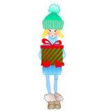 Bambina che tiene una scatola di regalo di Natale royalty illustrazione gratis