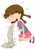 Bambina che vomita dall'intossicazione alimentare Immagini Stock