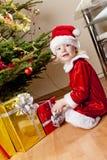 Bambina come Babbo Natale Fotografia Stock
