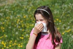 Bambina con capelli marroni lunghi con l'allergia al blo delle erbe Fotografie Stock Libere da Diritti