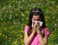 Bambina con capelli marroni lunghi con l'allergia al blo delle erbe Fotografie Stock