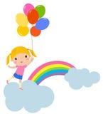 Bambina con gli aerostati Fotografie Stock Libere da Diritti