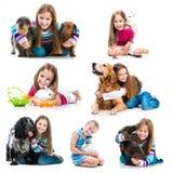 Bambina con gli animali domestici Fotografia Stock