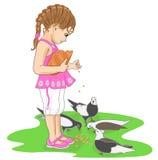 Bambina con gli uccelli Illustrazione di Stock