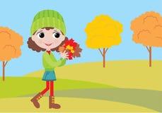 Bambina con i fogli di autunno illustrazione vettoriale