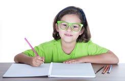 Bambina con i vetri verdi Fotografia Stock