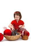 Bambina con il coniglietto di pasqua Fotografia Stock