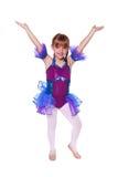 Bambina con il costume di dancing sopra Fotografie Stock