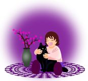 Bambina con il gatto Immagini Stock