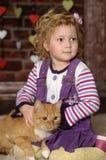 Bambina con il gatto Fotografia Stock Libera da Diritti