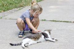 Bambina con il gatto fotografie stock libere da diritti