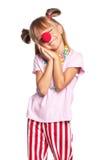 Bambina con il radiatore anteriore del pagliaccio Fotografie Stock