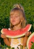 Bambina con l'anguria Fotografia Stock