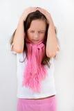 Bambina con l'emicrania Fotografia Stock Libera da Diritti