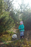Bambina con l'orso Fotografie Stock
