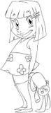 Bambina con la pagina di coloritura della bambola del coniglio Immagine Stock Libera da Diritti