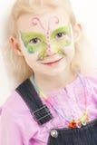 Bambina con la pittura del fronte Fotografia Stock Libera da Diritti