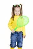 Bambina con la racchetta Fotografie Stock Libere da Diritti
