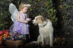 Bambina con le ali e un cane immagine stock