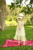 Bambina con le bolle di sapone Fotografia Stock