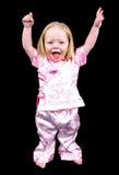 Bambina con le mani in su Fotografia Stock