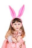 Bambina con le orecchie del coniglietto Fotografia Stock