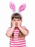 Bambina con le orecchie di coniglio Fotografie Stock Libere da Diritti