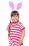 Bambina con le orecchie di coniglio Fotografie Stock