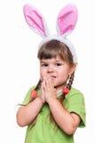 Bambina con le orecchie di coniglio Fotografia Stock