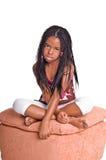 Bambina con le trecce immagine stock