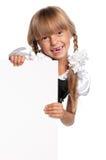 Bambina con lo spazio in bianco bianco Immagini Stock Libere da Diritti