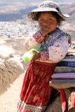 Bambina con un'alpaga nel Perù Fotografia Stock Libera da Diritti