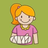 Bambina con un braccio rotto Fotografie Stock Libere da Diritti
