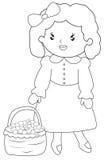 Bambina con un canestro dei frutti che colora pagina Fotografie Stock