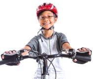 Bambina con un mountain bike II fotografia stock libera da diritti