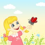 Bambina con una coccinella su una palma illustrazione di stock