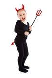 Bambina in costume del diavolo. immagini stock