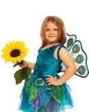 Bambina in costume del pavone Fotografia Stock