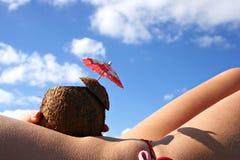 Bambina del cocktail della noce di cocco Fotografia Stock